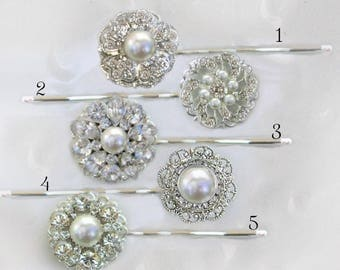 Choose 5, Wedding Hair Pins, Bridesmaid bobby pin, Pearl hair clip, Crystal Hair pin set, Rhinestone Hair Clip