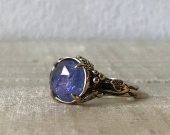 Rose Cut Tanzanite in 14kt White Gold- Woodland Vine Ring
