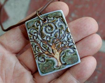 Rustic Blue Green Tree of Life Porcelain Pendant