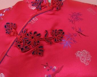 sz40 Cheongsam Red Asian Chinese Brocade Wiggle Dress Quipao Frogs Bamboo