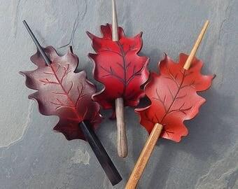 Leather Leaf Hair Slide, Oak Leaf Barrette in Burgundy, Scarlet or Autumn Red - Medium Size Barrette or Shawl Pin - Rounded White Oak Shape