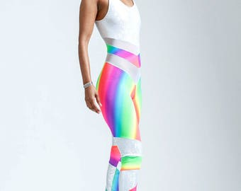 Rainbow Ombre Unicorn and White Mesh Portal Suit For Earthbound Star Beings