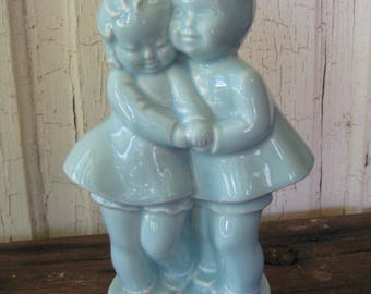 Vintage Turquoise SHAWNEE POTTERY PLANTER Charming Boy and Girl