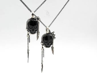 Sweet Jane or Johnny Rotten // Black Swarovski Skull and Sterling Silver Pendant, by BellaLili, Welded Silversmith