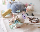 Hand Sculpted Ceramic Porcelain Bunny Rabbit Pin Cushion