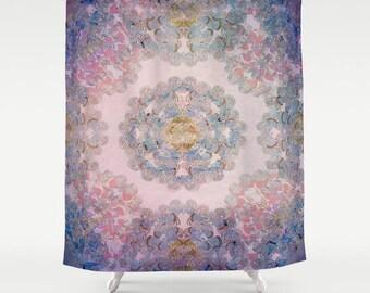 mandala design shower curtain- bohemian vibe home decor-bathroom decor-purple and pink fabric shower curtain-mandala