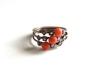 Special Antique Victorian Triple Gold Band with Coral and Pearls - An Instant Ring Stack! Circa 1880s