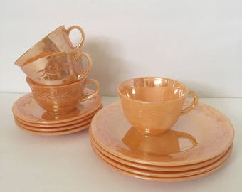 Peach Luster Laurel Leaf Fire King Lunch Set 12 Pieces Salad Plate Tea Cup and Saucer Set