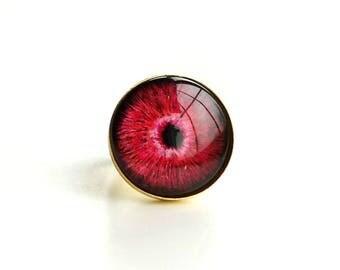Red Pink Eye Adjustable Ring