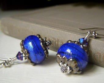 Dichroic Blue Earrings, Stunning Cobalt Lampwork Earrings Sterling Silver, Electric Blue Earrings, USA Artisan Glass Lampwork Dangle