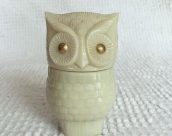 Vintage Avon Ivory Owl Shaped Lidded Glass Jar with Gold Eyes - Once held Moonwind Cream Sachet - So cute