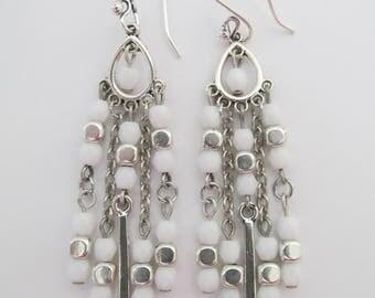 Boho Chandelier Earrings - White
