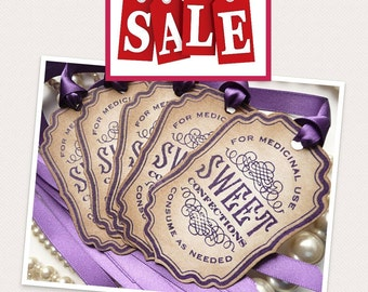 CANDY TAGS - Sweet Confections Label Vintage Inspired - Purple Ribbon - Candy Jar Decs, Wedding Favor Tags, Party Tags SET of 5