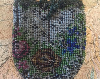 Antique Glass Beaded Coin Purse