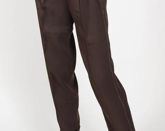 1940s Vintage Women's Brown Gabardine Western Style High Waisted Pants Sz XS S