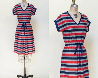 Vintage Striped Dress --- 1980s Sears Dress