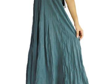 Boho Hippie 2 in 1 Smock Maxi Dress, Summer Long Cotton Dress & Skirt Casual wear Plus size (T06)