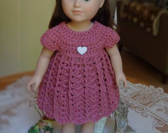 Crochet Dress Empire for 18 inch AG American Girl Doll Mauve Pink