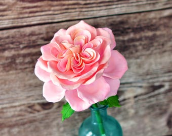 Handcrafted Clay Light Pink and Peach English Rose in Aqua Blue Bud Vase