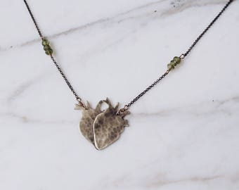 Double heart necklace, anatomical heart amulet, brass & gemstones, heart love necklace, st valentines, anatomy