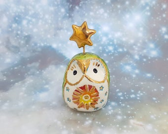Sunshine Owl Sculpture Green with Gold Designs