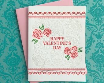 Love Roses Valentine Letterpress Card