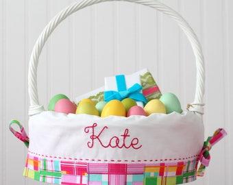 PRE-ORDER 2019 Personalized Easter Basket Liner Pottery Barn Kids baskets Girl, Monogrammed Easter Basket, Pink Madras Plaid