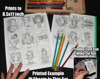 SALE Mini Coloring - Digital Download - Trading Card Prints - Myka Jelina - Fairy Art - Angel - Big Eyed - Fantasy Art - ATC Set 1