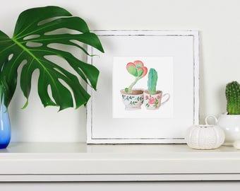 Succulent Cactus Teacups - Watercolour print. 20x20cm vintage teacups