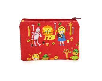 CHOOSE SIZE Wizard of Oz Zipper Pouch / Dorothy Tin Man Lion Camera Bag on Red / Make Up or Coin Pouch