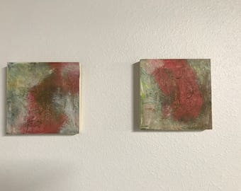 A Row of Peonies, pair of 6 by 6 inch paintings, gessoboard, abstract, oil, ready to hang, pink, green