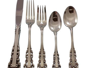 Medici New by Gorham Sterling Silver Flatware Set for 8 Service 38 Pieces, Sterling Silver Lace Like Lines, Beautiful!