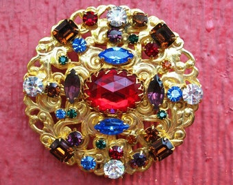 Vintage 1980's Belt Buckle Piece, Rhinestone, Beautiful Ornate, Up-Cycle this for one of your projects, Jewelry, Art, Mixed Media and More
