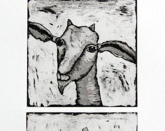 etching, goat print, goat art, 3 little goats, black and white print, animal print, farm animal art, farm kitchen decor, goat, printmaking