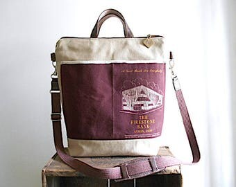 Canvas & vtg bank bag tote, crossbody tote, laptop bag - Firestone Bank Akron Ohio - eco vintage fabrics