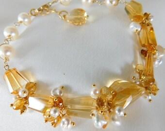 Citrine Bracelet - Wedding Jewelry - Statement Bracelet - Pearl Bracelet