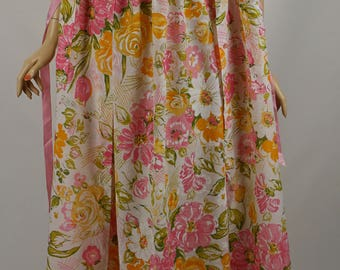 Vintage 1970s Nightgown and Robe Cotton Floral B42