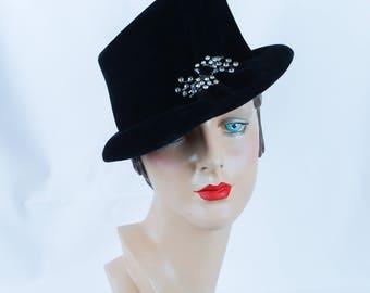 Vintage 1950's Hat Black Velvet Asymmetrical with Rhinestone Brooch by Andrea Sz 23