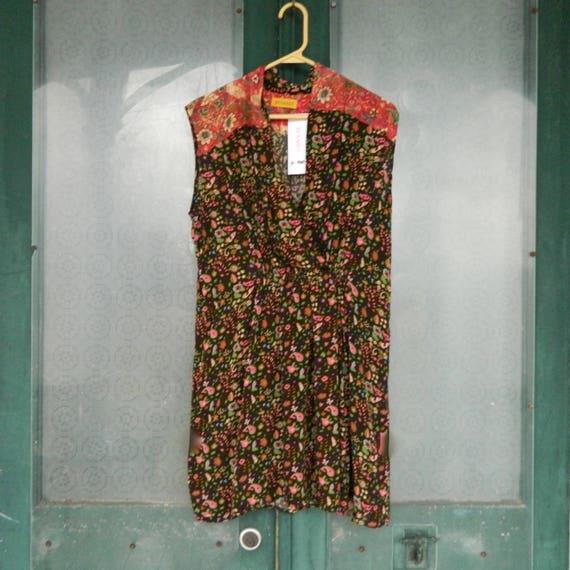 Benares Bird Dress -L- Brown Floral Viscose NWT