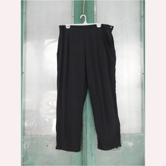 FLAX Engelheart temperate 2003 Side Pocket Pant -L- Black Rayon/Acetate
