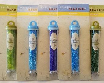 DESTASH Mini Glass Beads - Set of 5 Turquoise and Green
