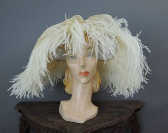 Vintage Feather Hat Sheer White Organdy, Wide Brim, Lilly Dache Bullock's Wilshire