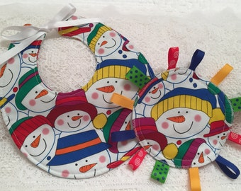 Baby Bib, Tag Blanket, Drool Bib, Baby Gift Set, Holiday Baby Shower, Teething Tag Blanket, Baby Chew Toy, Snowman Fabric, CHRISTMAS IN JULY