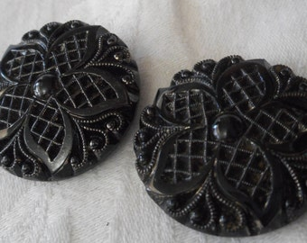 Set Of 2 Large ANTIQUE Lacy Flower Black Glass BUTTONS