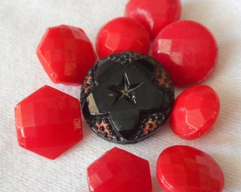 Lot Set of 9 VINTAGE Small Faceted Red & a Black Glass BUTTONS