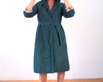 70s Misty Harbor Raincoat, Vintage Green Raincoat, Hooded Raincoat, Belted Raincoat, Misty Harbor Rain Jacket, Hooded Rain Jacket, Medium M