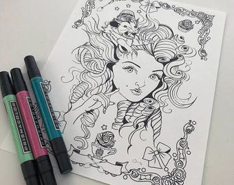 Possum Girl Download Coloring Page Pocket Full of Posiez