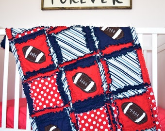 Football Bedding- Red / Navy Crib Bedding Baseball Nursery- Football Nursery Bumperless Bedding- Rag Quilt, Sheet, Skirt- Sport Nursery