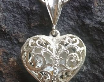 Vintage Silver Heart Pendant with Chain, Necklace, Heart Necklace, Silver Heart Necklace,