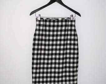 ESCADA plaid pencil skirt black + white buffalo check plaid high waist hourglass skirt small